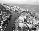 Aerial view with Indian Creek and Atlantic Ocean Miami Beach, Florida, 1955