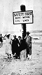 Bathers at Beach Safety Sign, Palm Beach Florida, 192-