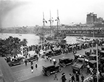 Crowds at Lafayette Street Bridge to Watch Gasparilla Carnival Ship Tampa, 1925
